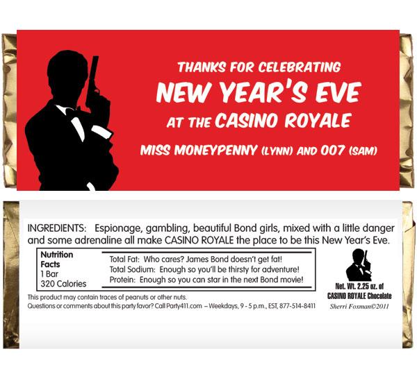 Casino Royale Theme Candy Bar Wrapper