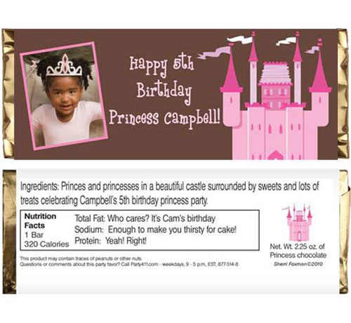 Birthday Castle Theme Candy Bar Wrapper