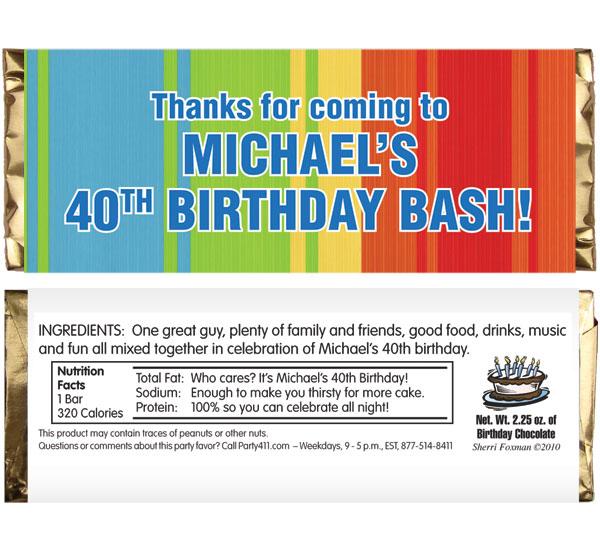 Birthday Celebrate Theme Candy Bar Wrapper