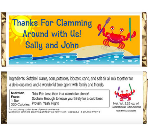 Crab and Clambake Theme Candy Bar Wrapper