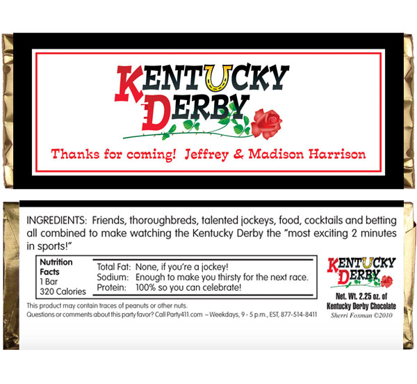 Kentucky Derby Theme Candy Bar Wrapper
