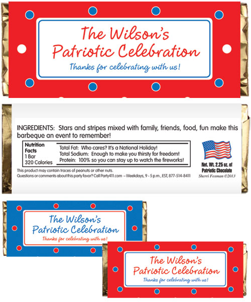 Polka Dot Patriotic Theme Candy Bar Wrappers