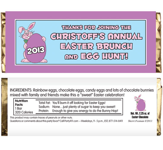 Easter Bunny Theme Party Candy Bar Wrapper