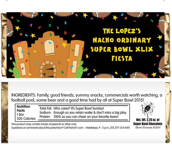 Super Bowl Fiesta Theme Candy Bar Wrapper