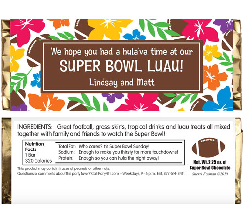 Super Bowl Luau Theme Candy Bar Wrapper