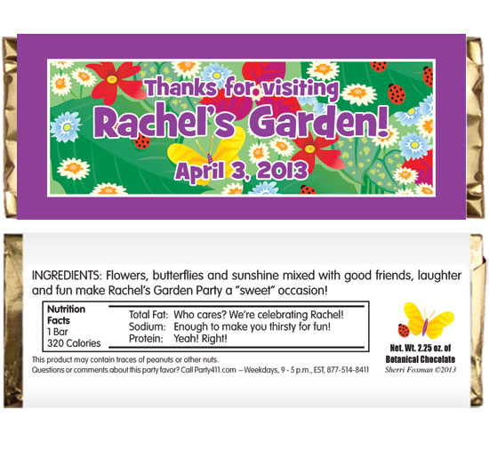 Garden Theme Candy Bar Wrapper