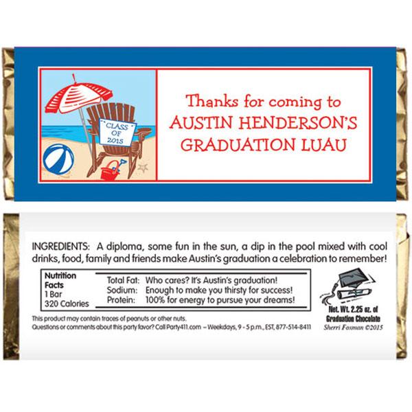 Luau Graduation Beach Theme Candy Bar Wrapper