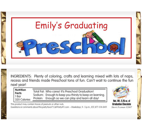 Graduation Kids Preschool Candy Bar Wrapper