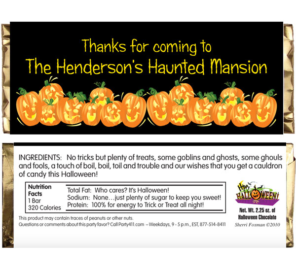 Halloween Fun Pumpkins Theme Candy Bar Wrapper