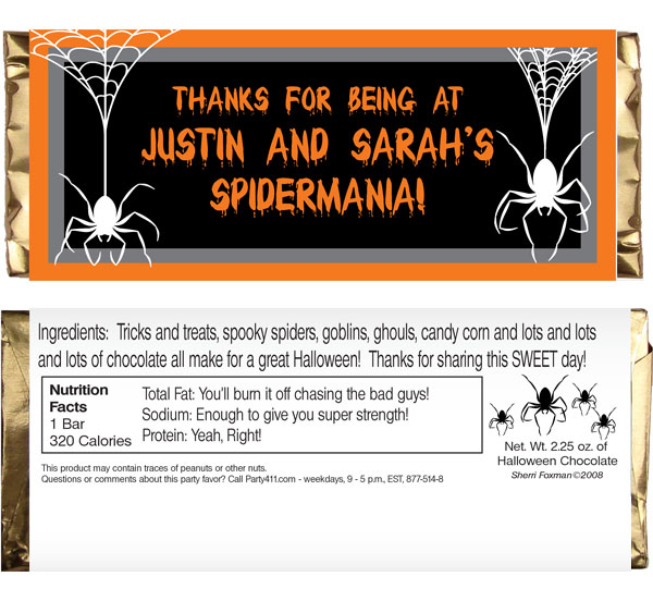 Halloween Spiders Theme Candy Bar Wrapper