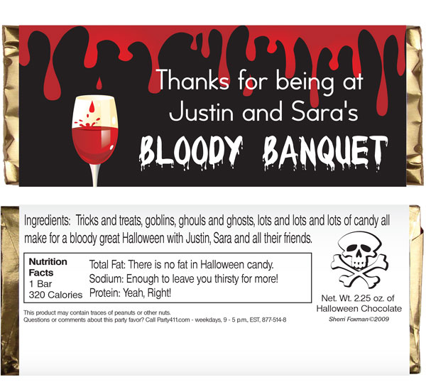 Halloween Bloody Banquet Theme Candy Bar Wrapper