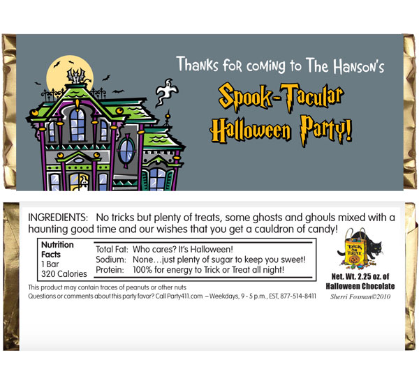 Halloween Spooky House Theme Candy Bar Wrapper