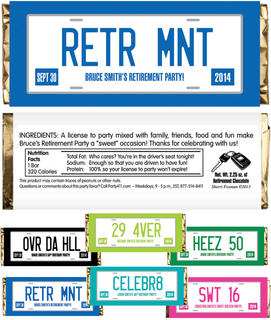 Retirement License Plate Theme Candy Bar Wrapper
