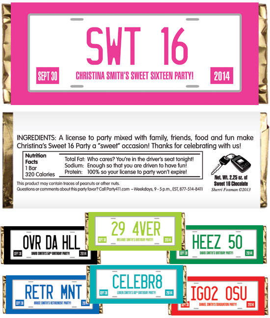 Sweet 16 License Plate Theme Candy Bar Wrapper