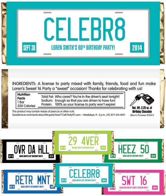 License Plate Theme Candy Bar Wrapper