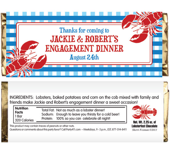 Lobster Theme Candy Bar Wrapper