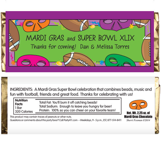 Mardi Gras Super Bowl Theme Candy Bar Wrapper
