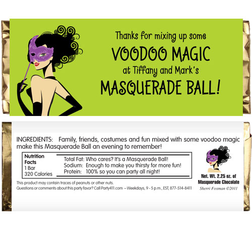 Halloween Masquerade Ball Candy Bar Wrapper
