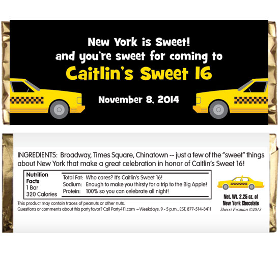 New York Taxis Theme Candy Bar Wrapper