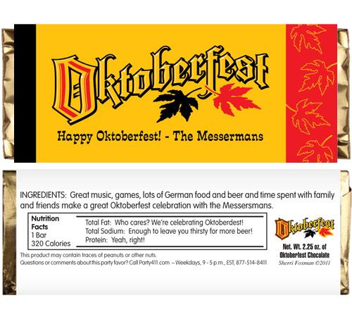 Oktoberfest Festival Theme Candy Bar Wrapper