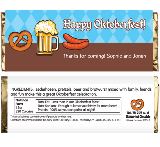 Oktoberfest Food Theme Candy Bar Wrapper