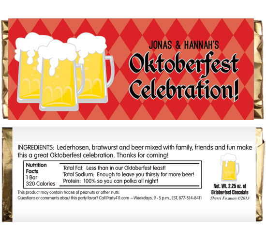 Oktoberfest Beer Theme Candy Bar Wrapper
