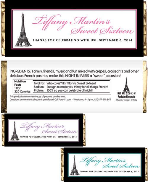 Paris Party Theme Candy Bar Wrapper