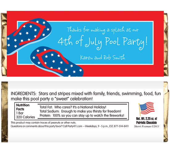 Patriotic Flip Flops Theme Candy Bar Wrappers