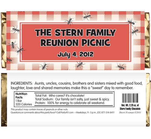 Backyard Picnic Theme Candy Bar Wrapper
