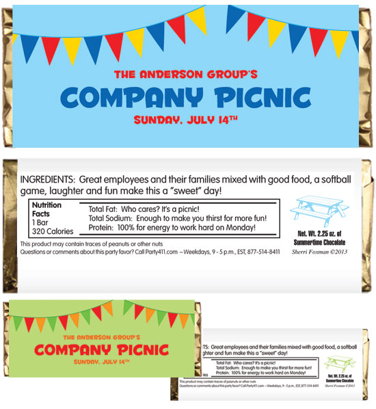 Picnic Theme Party Candy Bar Wrapper