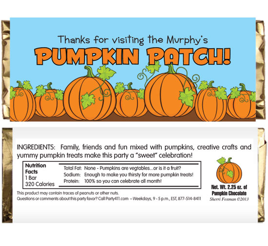 Pumpkin Party Theme Candy Bar Wrapper