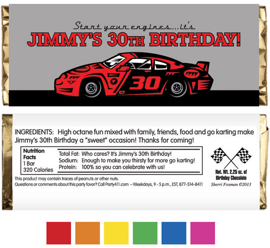 Race Car Party Theme Candy Bar Wrapper