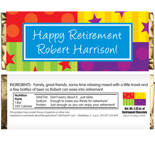 A Retirement Celebration Theme Candy Bar Wrapper