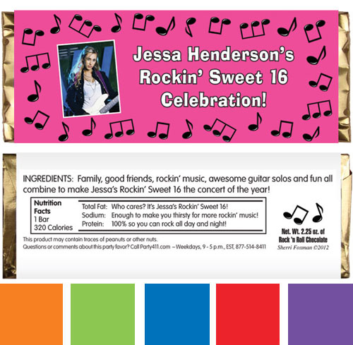 Rock n Roll Theme Pink Candy Bar Wrapper