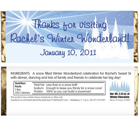 Winter Wonderland Theme Candy Bar Wrapper