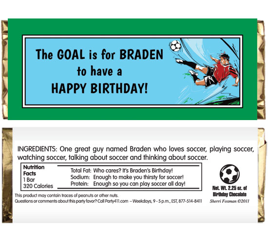 Soccer Boy Theme Candy Bar Wrapper