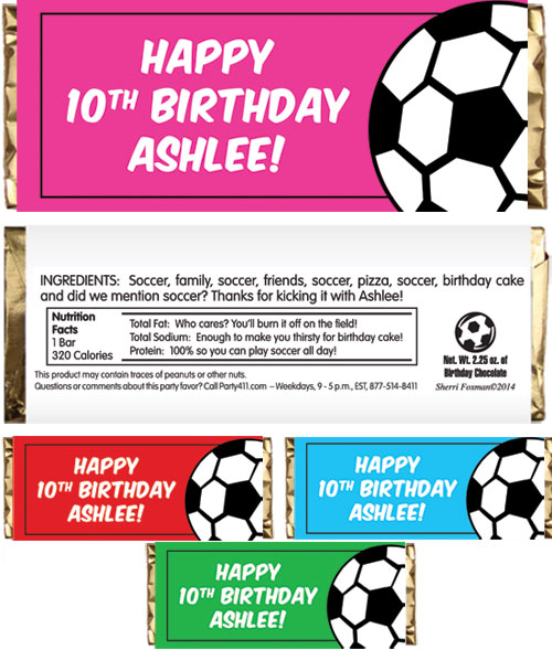 Soccer Girl Theme Candy Bar Wrapper