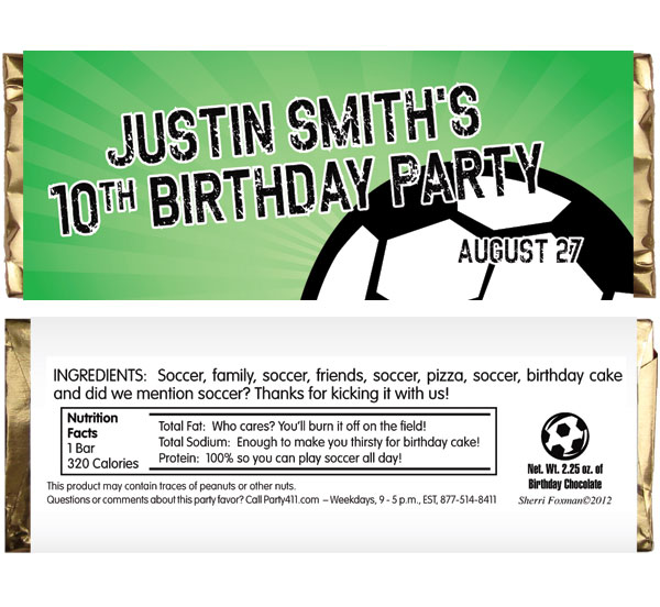 Soccer Ball Party Theme Candy Bar Wrapper