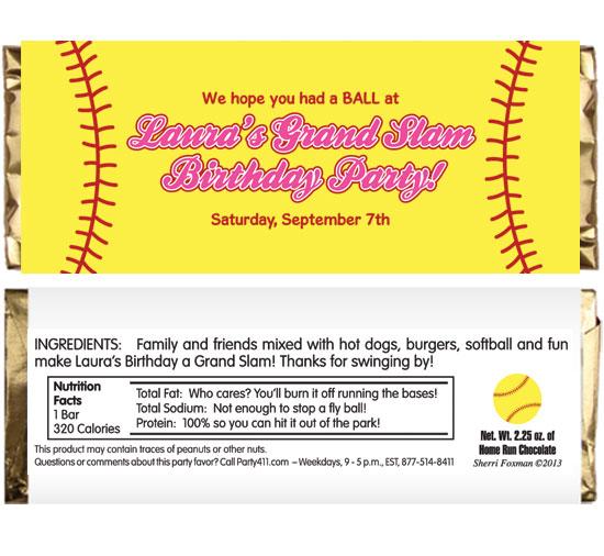 Softball Theme Candy Bar Wrapper