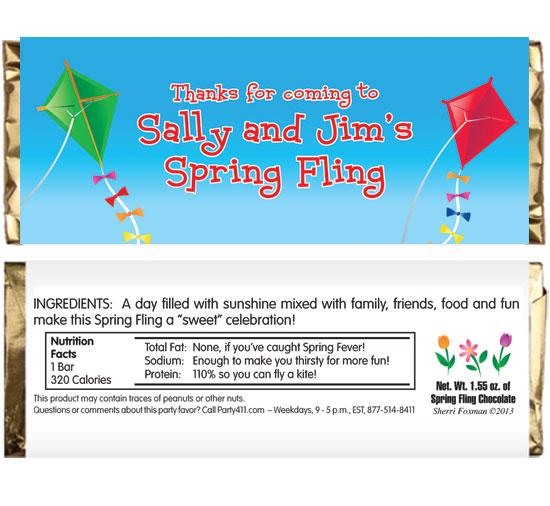 Flying Kites Theme Candy Bar Wrapper