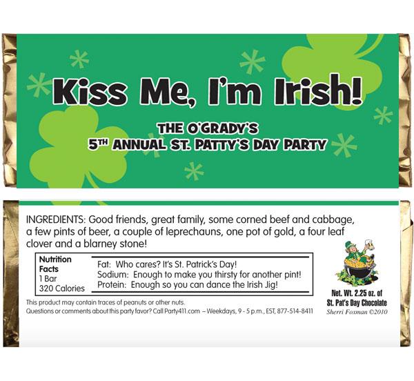 St. Patrick's Day Irish Theme Candy Bar Wrapper