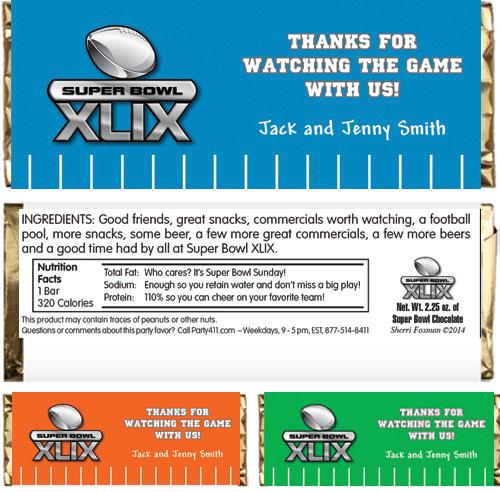 2015 Super Bowl XLIX Theme Candy Bar Wrapper