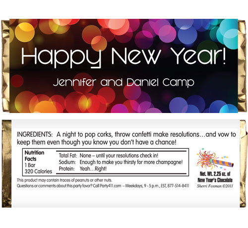 A New Years Colors Theme Candy Bar Wrapper