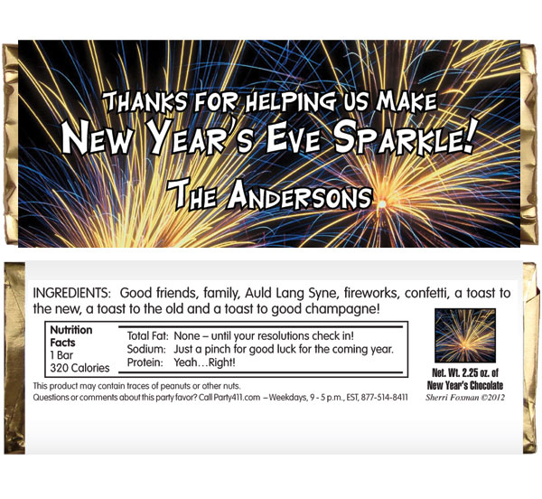 New Years Eve Fireworks Theme Candy Bar Wrapper