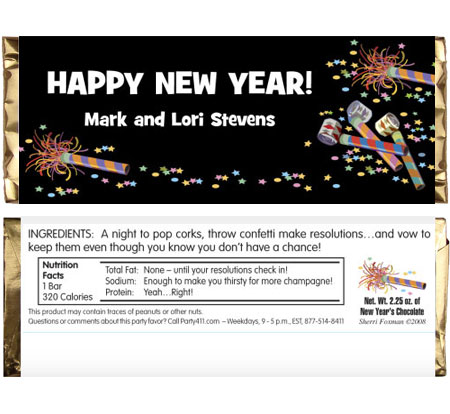 Noisemakers New Years Theme Candy Bar Wrapper