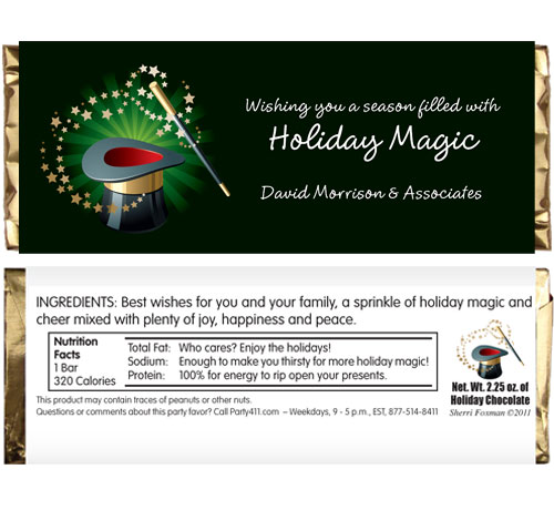 Holiday Magic Theme Candy Bar Wrapper