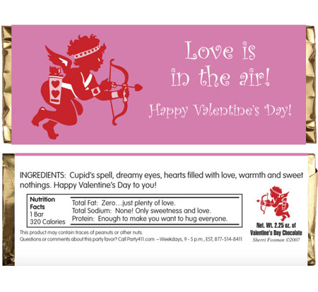 Valentine's Day Cupid Candy Bar Wrapper