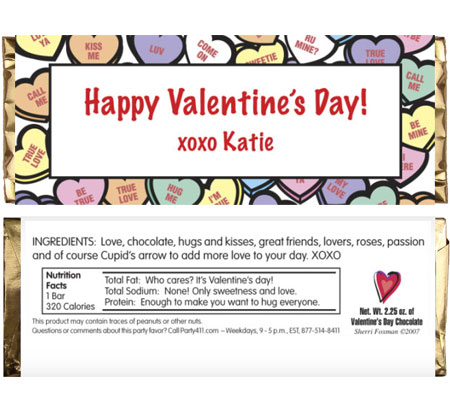 Valentine's Day Candy Hearts Theme Candy Bar Wrapper