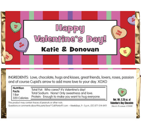 A Valentine's Day Party Theme Candy Bar Wrapper