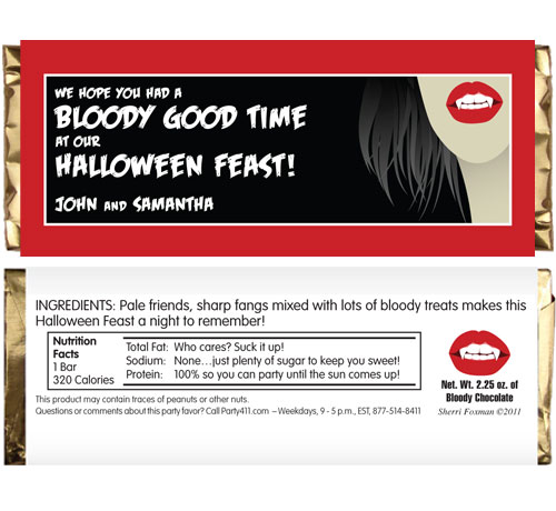 Halloween Vampire Theme Candy Bar Wrapper